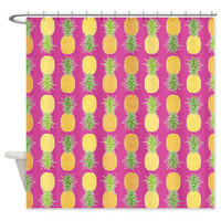 Pineapples Shower Curtain - Tropical Pattern - Ornaart Design