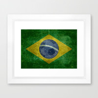 Vintage Brazilian National flag featuring a football ( soccer ball ) Framed Art Print by LonestarDesigns2020 - Flags Designs + | Society6
