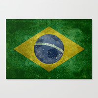 Vintage Brazilian National flag featuring a football ( soccer ball ) Stretched Canvas by LonestarDesigns2020 - Flags Designs +