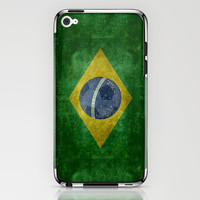 Vintage Brazilian National flag featuring a football ( soccer ball ) iPhone & iPod Skin by LonestarDesigns2020 - Flags Designs + | Society6