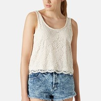 Topshop Scalloped Lace Tank (Petite)