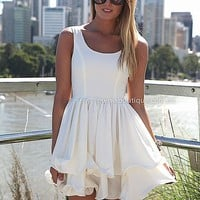 PRE ORDER - ELIXIR FRILL DRESS (Expected Delivery 18th April, 2014) , DRESSES, TOPS, BOTTOMS, JACKETS & JUMPERS, ACCESSORIES, 50% OFF SALE, PRE ORDER, NEW ARRIVALS, PLAYSUIT, COLOUR, GIFT VOUCHER,,White,SLEEVELESS,MINI Australia, Queensland, Brisbane