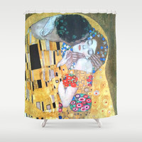 Love & The Kiss - Gustav Klimt Shower Curtain by BeautifulHomes