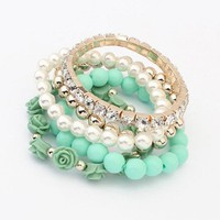 Sannysis 1PC Lovely Sweet Colorful 1 Set Acrylic Rose Flower Round Pearl Shining Rhinestone Crystal Elastic Bracelet