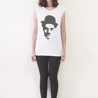 Charlie Chaplin Shirt Tank Top Women T-Shirt Muscle Tee Shirts Sleeveless Womens T-Shirts Tops Size S M L
