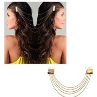 HuaYang Chic Hair Cuff Pin Head Band Chains 2 Combs Tassels Fringes Boho Punk(GOLD)