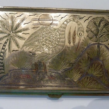 Vintage silver plated engraved etched enamel heron Indian indian map cigarette case 1940s WWII