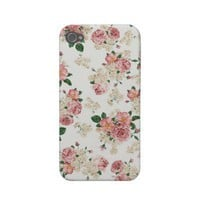 White & Pink Vintage Floral iPhone 4/4S Case Iphone 4 Case-mate Cases from Zazzle.com