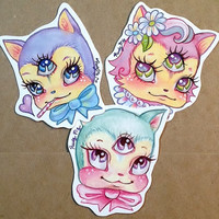 Pack of Mystic Mow Mows, cat stickers from Rudy Fig, kawaii, third eye, cute, kittens, pastel