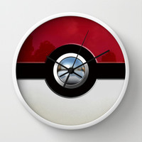 Retro Chrome pokemon pikachu pokeball Decorative Circle Wall Clock Watch by Three Second