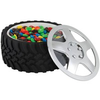 Tire Snack Bowl With Hubcap Lid - Nascar Fan Motorhead Car Enthusiast Wheel