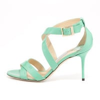 Jimmy Choo Louise Crisscross Patent Leather Sandal, Peppermint