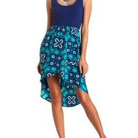 Lace-Back Scarf Print High-Low Dress