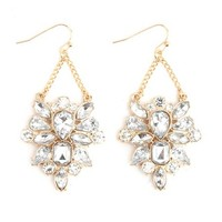 Dangling Rhinestone Cluster Earrings
