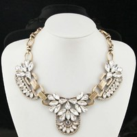 New Crystal Cluster Necklace Crew Vintage Statement Bib Gold Trendy J-12 Us Seller