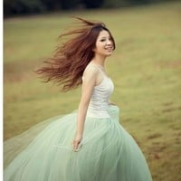 Fashion Womens Princess Fairy Style 5 layers Tulle Bouffant Skirt 5 Colors Dress