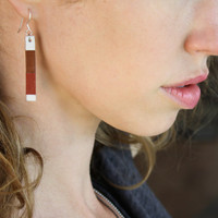 Bar dangle earrings in red brown and white leather geometric design