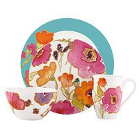 Lenox Dinnerware, Floral Fusion Aqua 4 Piece Place Setting - Casual Dinnerware - Dining & Entertaining - Macy's