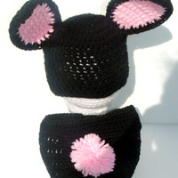 2 Piece Black and Pink Matching Bunny Set for Easter, Black Pink Bunny Ear Hat,Diaper cover with Bunny Tail,0-3 Months Bunny Photo Prop