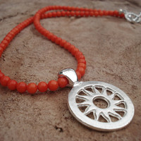 Sun Pendant Necklace with Orange Coral Beads and Sun toggle Clasp, For Her