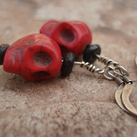 Skull Earrings Made of Magnesite and Black Wood, For Her