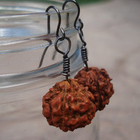 Rudraksha Dangle Earrings, Yoga Earrings, India Seed Bead