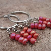 Red Seed Bead Earrings, Glass, For Her