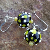 Black Glass Earrings with Yellow and White Dots, Dangle Earrings