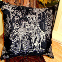PROVENCAL FRENCH – Black Jacquard pillow cover 20x20
