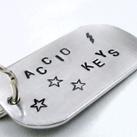 Large Accio Keys Keychain - Hand Stamped Harry Potter Keyring