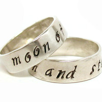 Sterling Silver My Sun and Stars / Moon of My Life - Hand Stamped Dothraki Ring Pair, Soldered Bands