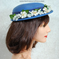 1940s Blue Hat Straw with White Floral Decoration Vintage