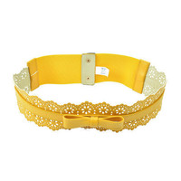 Pree Brulee - Yellow Lace Bow Belt