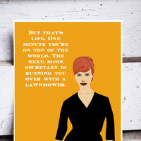 MAD MEN art JOAN holloway harris street Illustration 1960s style red hair curvy body quote quotes print christina hendricks yellow