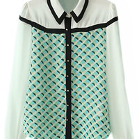 ROMWE Color Block Slim Chiffon Shirt