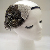 The Shirley - 1920s headband, flapper hairpiece, polka dot headband, 1920s polka dot, feather fascinator, silver beaded headband