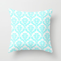 *** DAMASK AQUA BLUE  *** Throw Pillow by MY PRETTY HOME | Society6