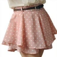 Zeagoo Women's Chiffon Waist Dress Short Hot Pants Elastic Dots Polka Waist Skirt