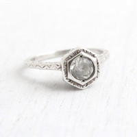 Antique Sterling Silver Art Deco Ring - Vintage Size 6 Filigree Clear Stone 1920s Hallmarked Uncas Jewelry