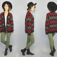 vintage 1990's speckled confetti SOUTHWESTERN boho geometric native NAVAJO CARDIGAN sweater, extra small-medium