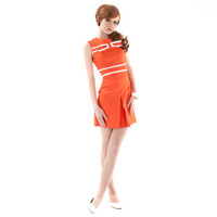 Orange Mod Fitted Dress Orange White