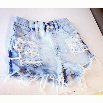 Highwaisted acid wash denim shorts waist sizes 22,23,24,25,26,27,28,29,3­0,31,32 available and young girls sizes too
