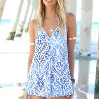 Blue and White Printed V-Neck Playsuit