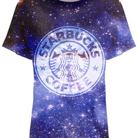 ROMWE Starbuck Coffee in Galaxy Print T-shirt