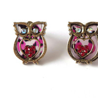 Red Purple Owl Earrings, Heart, Studs, Post, Glass, Rhinestones, Metal