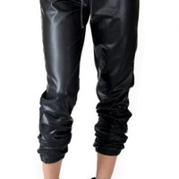 Black Drawstring Faux Leather Jogger Pants