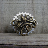 Steampunk Octopus Ring - Brass Octopus on Silver Gear Adjustable Ring