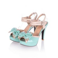 Charm Foot Fashion Bows Womens Platform High Heel Peep Toe Sandals
