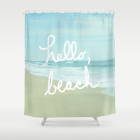 Hello, Beach Shower Curtain by Avenue L Designs | Society6