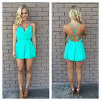 Spring Green Cross Back Romper